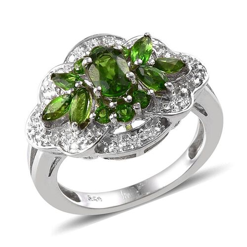 Russian Diopside (Ovl), Diamond Ring in Platinum Overlay Sterling Silver 1.270 Ct.