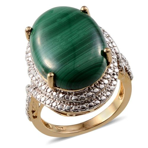 Malachite (Ovl) Ring in ION Plated 18K Y Gold Bond 20.000 Ct.
