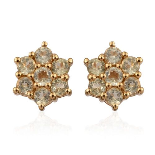 Natural Canary Apatite (Rnd) Floral Stud Earrings (with Push Back) in 14K Gold Overlay Sterling Silver 1.000 Ct.
