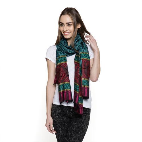 100% Modal Green, Black and Multi Colour Jacquard Scarf (Size 190x70 Cm)