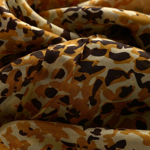 100% Mulberry Silk Champagne, Black and Multi Colour Printed Pareo (Size 180x100 Cm)