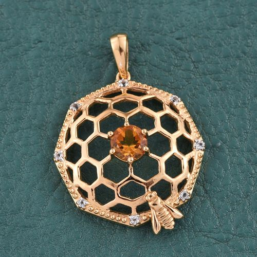 Citrine (Rnd 0.65 Ct), White Topaz Pendant in 14K Gold Overlay Sterling Silver 0.750 Ct.