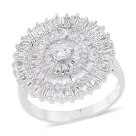 ELANZA AAA Simulated White Diamond (Rnd) Cluster Ring in Rhodium Plated Sterling Silver