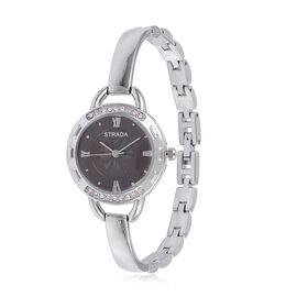 STRADA Japanese Movement Black Dial with White Austrian Crystal Water Resistant Bracelet Watch in Silver Tone with Stainless Steel Back