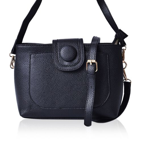 Snake Embossed Black Colour Crossbody Bag With Adjustable and Removable Shoulder Strap (Size 26x18x10 Cm)