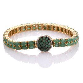 Kagem Zambian Emerald (Ovl) Bracelet (Size 7.5) in 14K Gold Overlay Sterling Silver 16.500 Ct.
