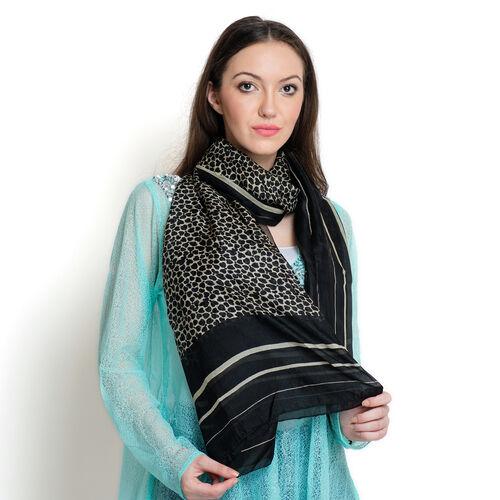 100% Mulberry Silk Black Colour Leopard Pattern White Colour Scarf (Size 180x100 Cm)