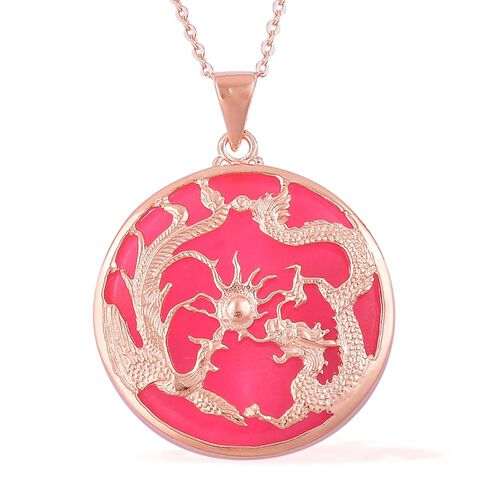 Limited Edition- Hand Polish Pink Jade Dragon Pendant with Chain (Size 20) in Rose Gold Overlay Sterling Silver 15.000 Ct.