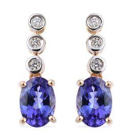 ILIANA 18K Y Gold AAA Tanzanite (Ovl), Diamond Earrings (with Screw Back) 1.750 Ct.