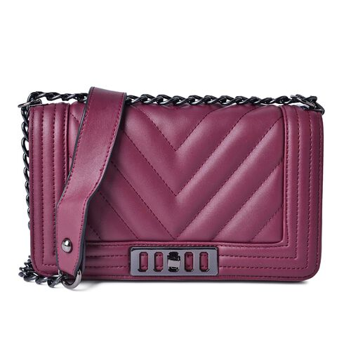 Burgundy Colour Crossbody Bag with Shoulder Strap (Size 24.5x14x7 Cm)