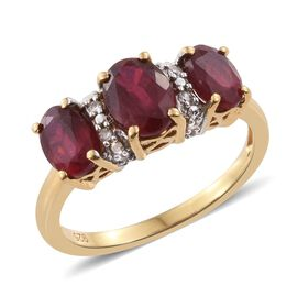 African Ruby (Ovl 1.10 Ct), Natural Cambodian Zircon Ring in 14K Gold Overlay Sterling Silver 2.750 Ct.