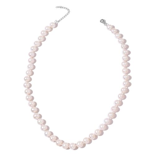 Fresh Water AAAA Very High Lustre Pearl Necklace (Size 18 with 2 inch Extender) in Rhodium Plated Sterling Silver - Includes Gift Box