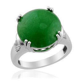 Enhanced Colour Green Jade (10.25 Ct) White Topaz Platinum Overlay Sterling Silver Ring  10.450 Ct.