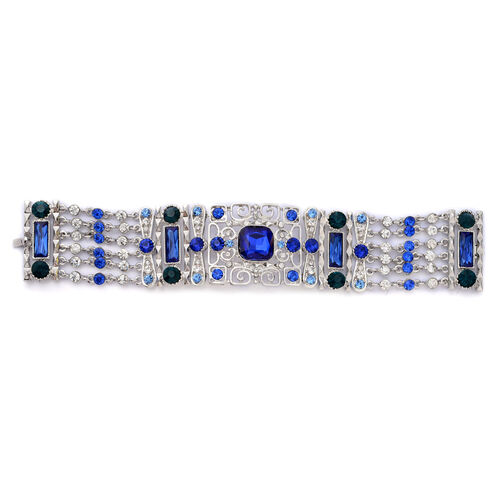 Blue, Green Glass and White, Blue Austrian Crystal Bracelet (Size 7.5) in Silver Tone