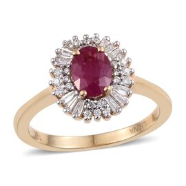 ILIANA 18K Yellow Gold 1.35 Carat AAA Pigeon Blood Burmese Ruby Oval Halo Ring, Diamond SI G-H.