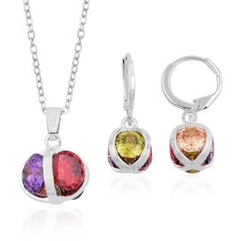 AAA Simulated Multi Colour Diamond Pendant With Chain and Lever Back Earrings in Silver Tone