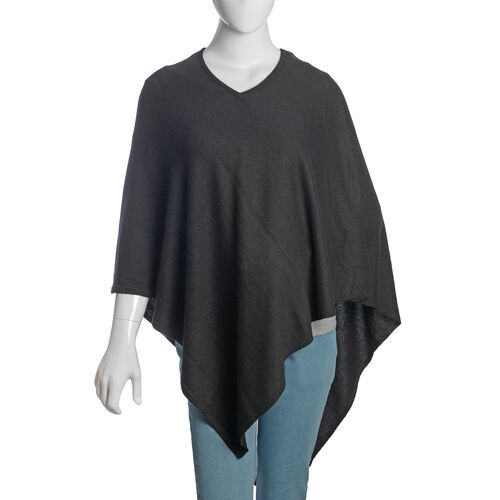 100% Very Rare Pashmina Wool Designer Inspired Womens Poncho in Black Colour (Free Size)