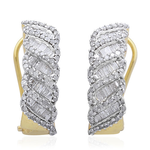 Diamond (Bgt) Earrings (with French Clip) in 14K Gold Overlay Sterling Silver 1.000 Ct.