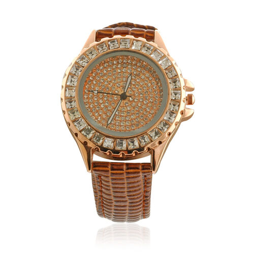 STRADA Japanese Movement ION Plated Rose Gold Stainless Steel Water Resistant Watch in Leather Strap  0.010  Ct.