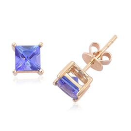 ILIANA 18K Y Gold AAA Tanzanite (Sqr) Stud Earrings (with Push Back) 1.500 Ct.