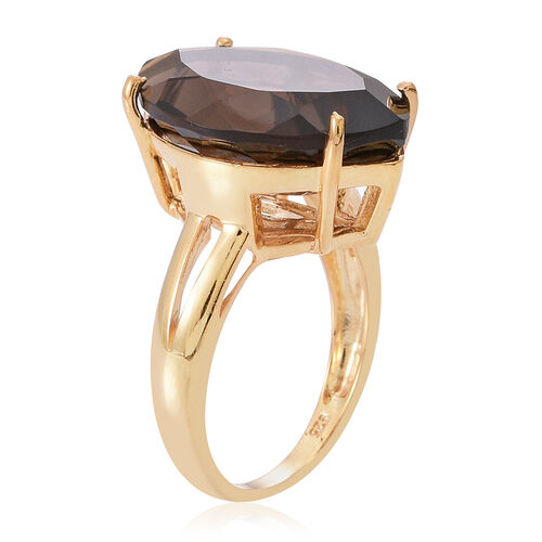 Brazilian Smoky Quartz (Mrq) Ring in 14K Gold Overlay Sterling Silver 15.000 Ct.