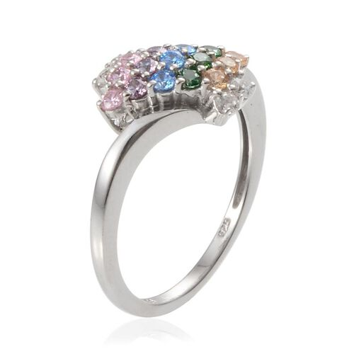 J Francis - Platinum Overlay Sterling Silver (Rnd) Ring Made with Blue, Green, Yellow, Amethyst, White and Pink SWAROVSKI ZIRCONIA 0.570 Ct.