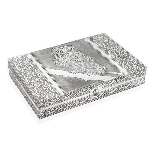 Limited Edition - Handcrafted Owl Embossed 80 Slots Ring Box with Red Velvet and Mirror Inside (Size 28X19X5 Cm)