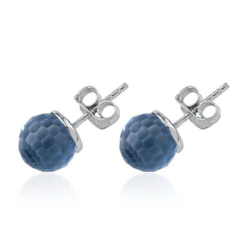 Crystal from Swarovski - Aquamarine Colour Crystal Stud Earrings (with Push Back) in Platinum Overlay Sterling Silver