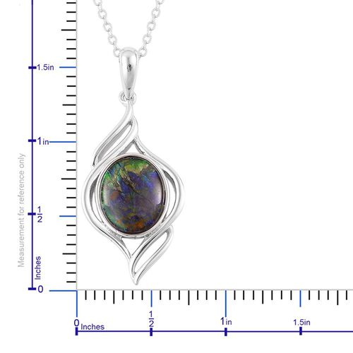 AA Canadian Ammolite (Ovl) Solitaire Pendant With Chain in Rhodium and Platinum Overlay Sterling Silver 2.750 Ct.