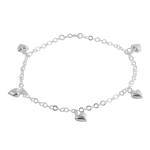 Close Out Deal Sterling Silver Hearts Charm Anklet (Size 10), Silver wt 4.50 Gms.