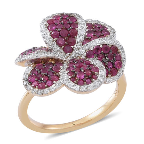Burmese Ruby (Rnd), Natural Cambodian White Zircon Floral Ring in 14K Gold Overlay Sterling Silver 2.000 Ct.