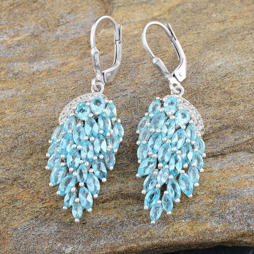Paraibe Apatite (Pear), White Topaz Lever Back Earrings in Platinum Overlay Sterling Silver 6.500 Ct.