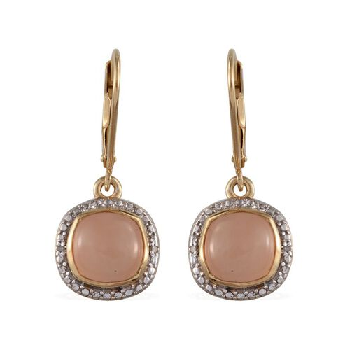 Mitiyagoda Peach Moonstone (Cush), Diamond Earrings in 14K Gold Overlay Sterling Silver 5.020 Ct.