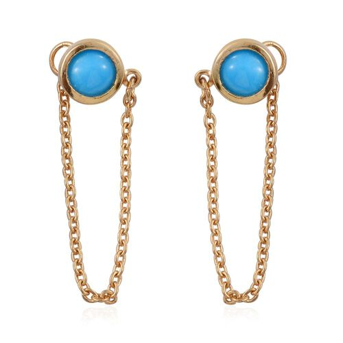 Arizona Sleeping Beauty Turquoise (Rnd) Earrings (with Push Back) in 14K Gold Overlay Sterling Silver 1.000 Ct.