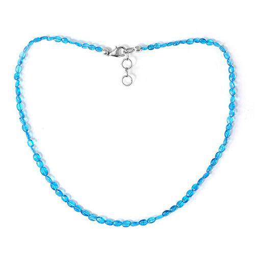 Malgache Neon Apatite Necklace (Size 16) in Sterling Silver 42.700 Ct.