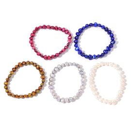 Set of 5 - Fresh Water White, Chocolate, Blue, Silver Grey and Red Pearl Stretchable Bracelet (Size 7.50)