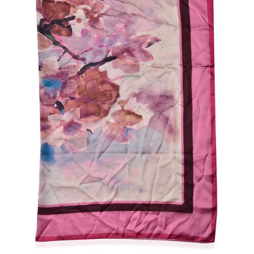 Pink and Brown Colour Bloom Flower Pattern Beige Colour Scarf (Size 110X110 Cm)