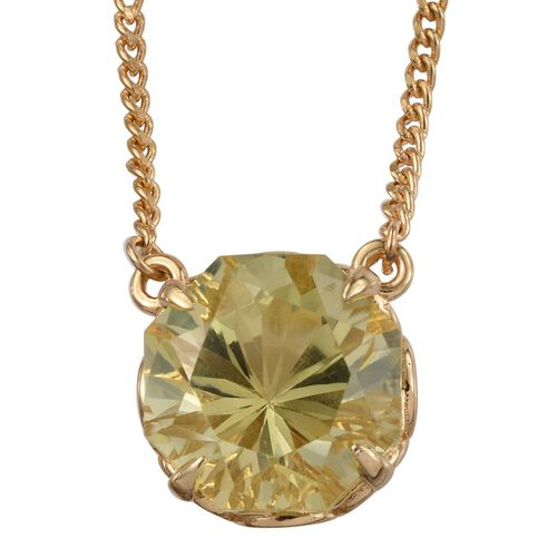 Natural Ouro Verde Quartz (Octillion Cut) Solitaire Necklace (Size 18) in 14K Gold Overlay Sterling Silver 9.000 Ct.
