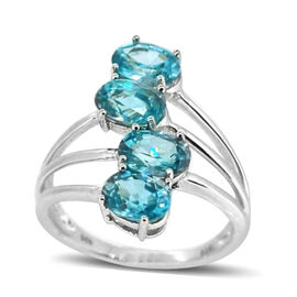 Natural Cambodian Blue Zircon (Ovl) Ring in Sterling Silver 4.000 Ct.