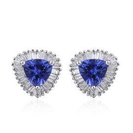ILIANA 18K W Gold AAA Tanzanite (Trl), Diamond Stud Earrings (with Screw Back) 1.250 Ct.