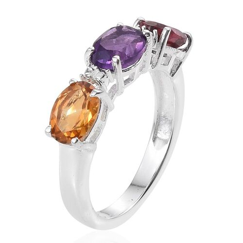 Rhodolite Garnet (Ovl 1.00 Ct), Amethyst and Citrine Ring in Sterling Silver 2.500 Ct.