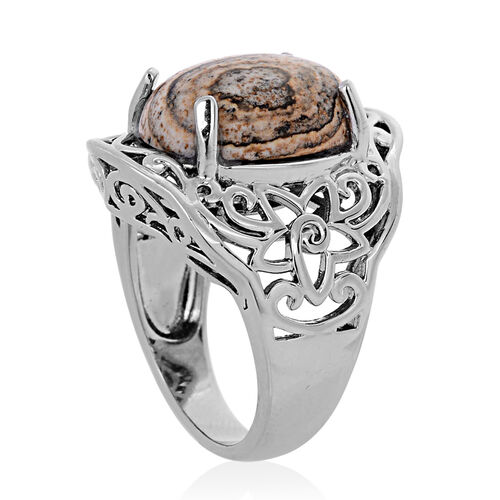 Picture Jasper (Ovl) Solitaire Ring in ION Plated Silver Bond 9.350 Ct.