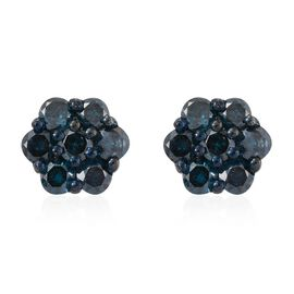 Blue Diamond (Rnd) Floral Stud Earrings (with Push Back) in Platinum Overlay Sterling Silver 1.000 Ct.