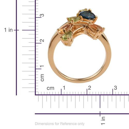 London Blue Topaz (Pear 0.75 Ct), Hebei Peridot and Citrine Ring in Yellow Gold Bond 2.250 Ct.