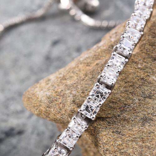 J Francis - Platinum Overlay Sterling Silver (Asscher Cut) Adjustable Bracelet (Size 6 to 9) Made with SWAROVSKI ZIRCONIA