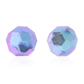Violet Faceted AAA Austrian Crystal (Rnd 8MM) Stud Earrings (with Push Back) in Sterling Silver 8.000 Ct.