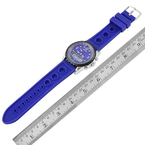 STRADA Chinese Movement Blue Colour Analog - Digital Watch in Silver Tone with Blue Colour Silicone Strap