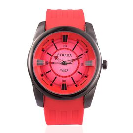 STRADA Japanese Movement Red and Black Colour Dial Water Resistant Watch in Black Tone with Stainless Steel Back and Red Silicone Strap