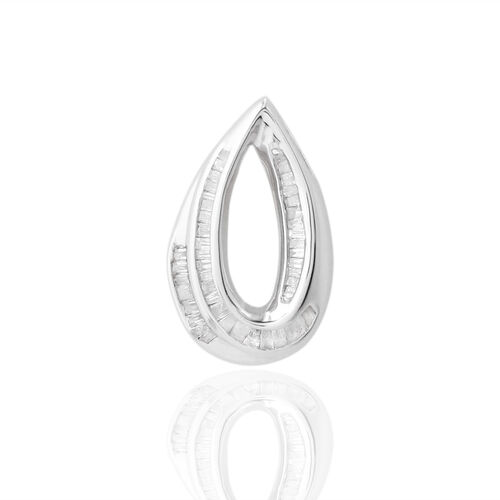 9K W Gold SGL Certified Diamond (Bgt) (I 3/G-H) Tear Drop Pendant 0.250 Ct.