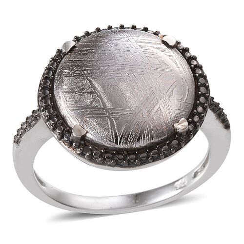 Meteorite (Rnd 15.00 Ct), Black Diamond Ring in Platinum Overlay Sterling Silver 15.010 Ct.